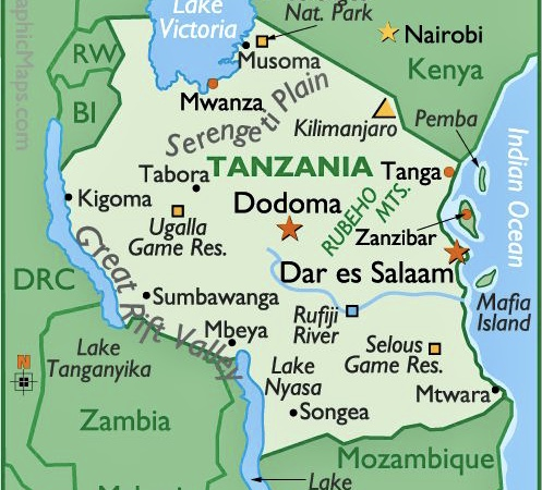 Tanzania. Muheza ligger i N/Ø udenfor Tanga. Songea helt i syd