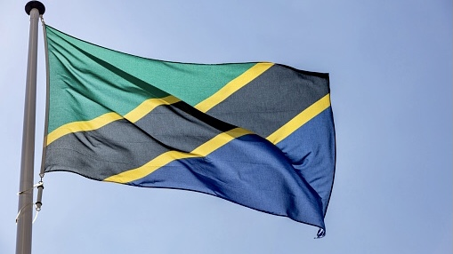anzania flag, National symbol waving against clear blue sky, sunny day